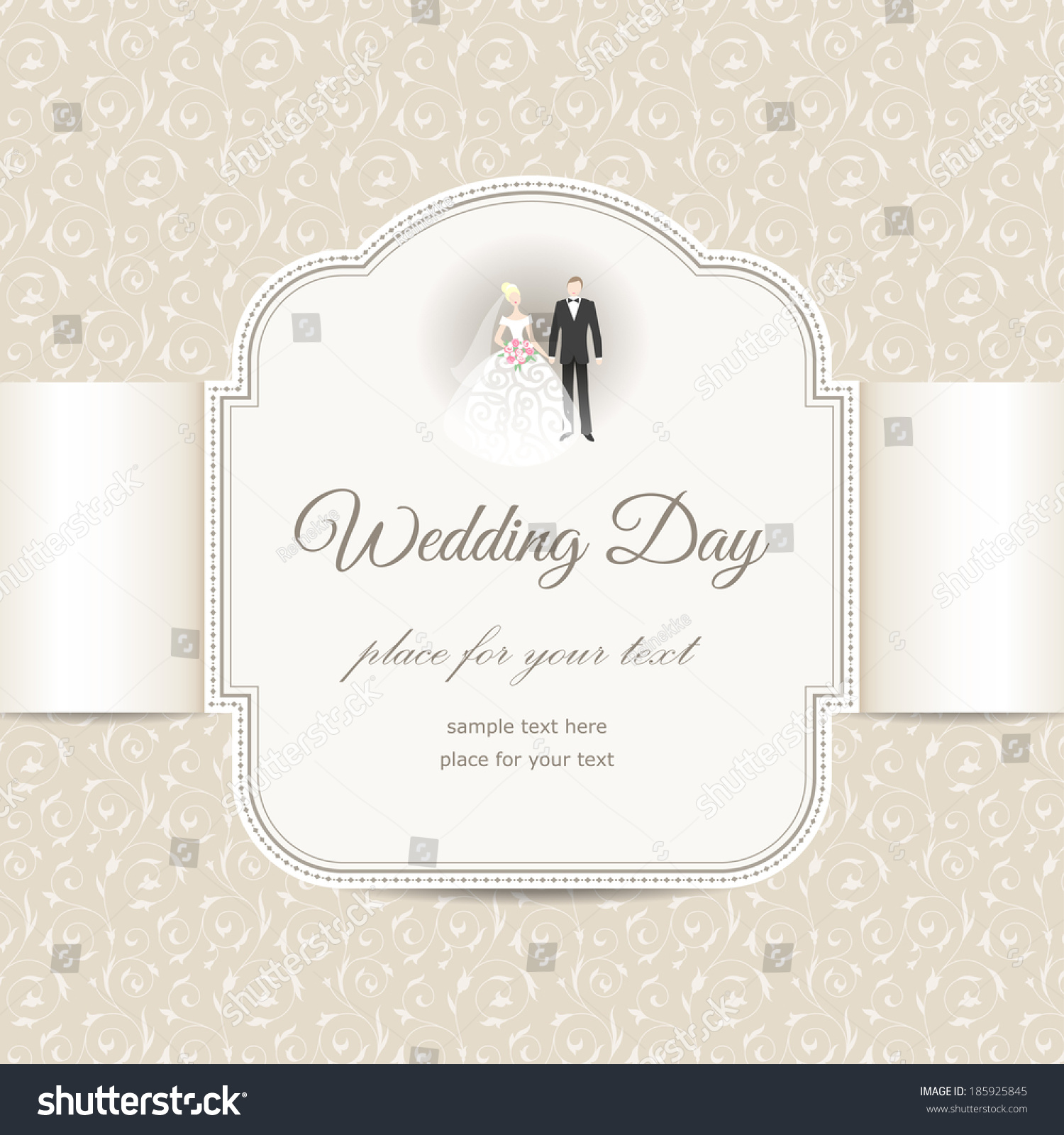 Invitation Label On Floral Background Elegant Stock Vector 185925845 ...