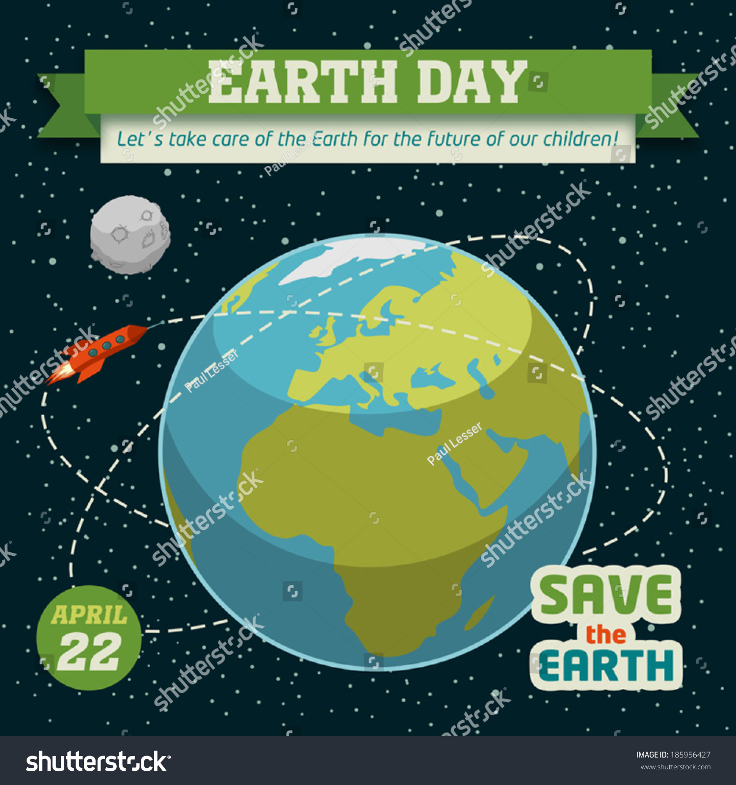 Poster design on save earth - Earth Day Holiday Poster In Flat Design On Space Background