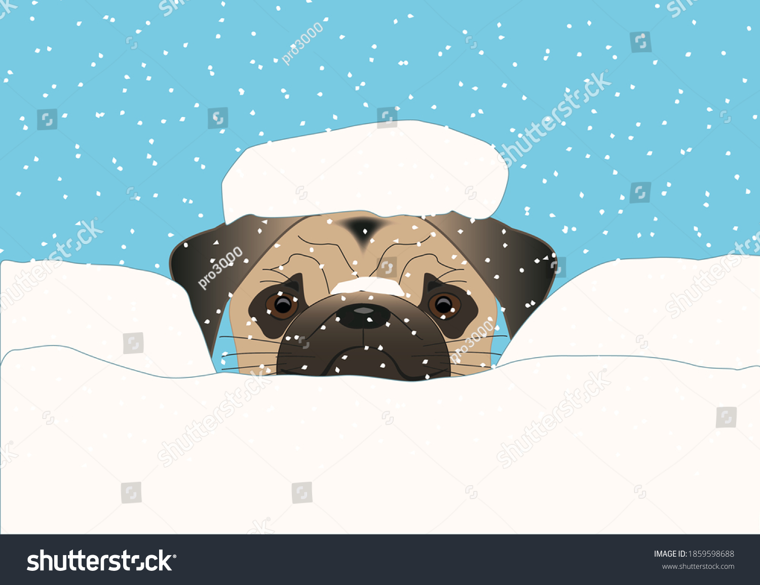 The illustration shows a pug who enjoys the snow.