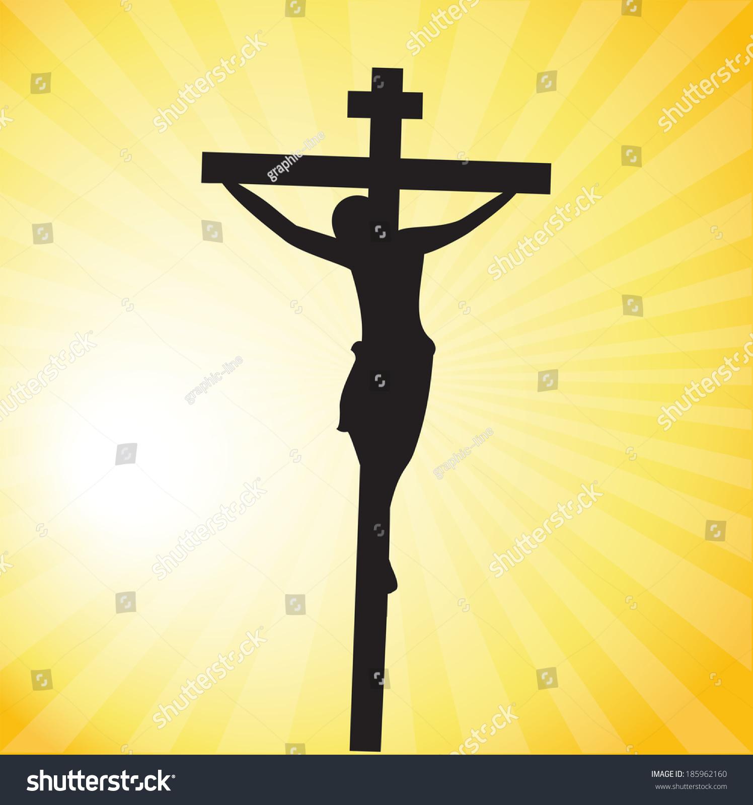 jesus christ crucifixion silhouette stock vector 185962160