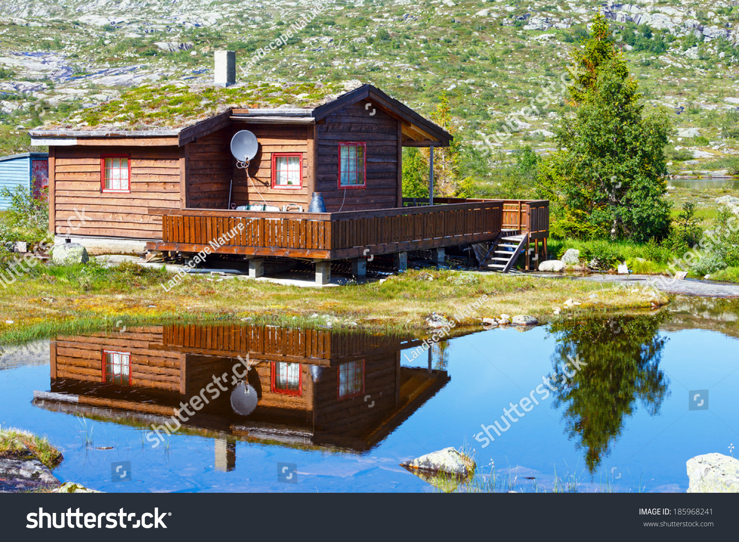 Typical norwegian wooden summer house near stock photo 185968241 shutterstock - Summer houses mountains ...