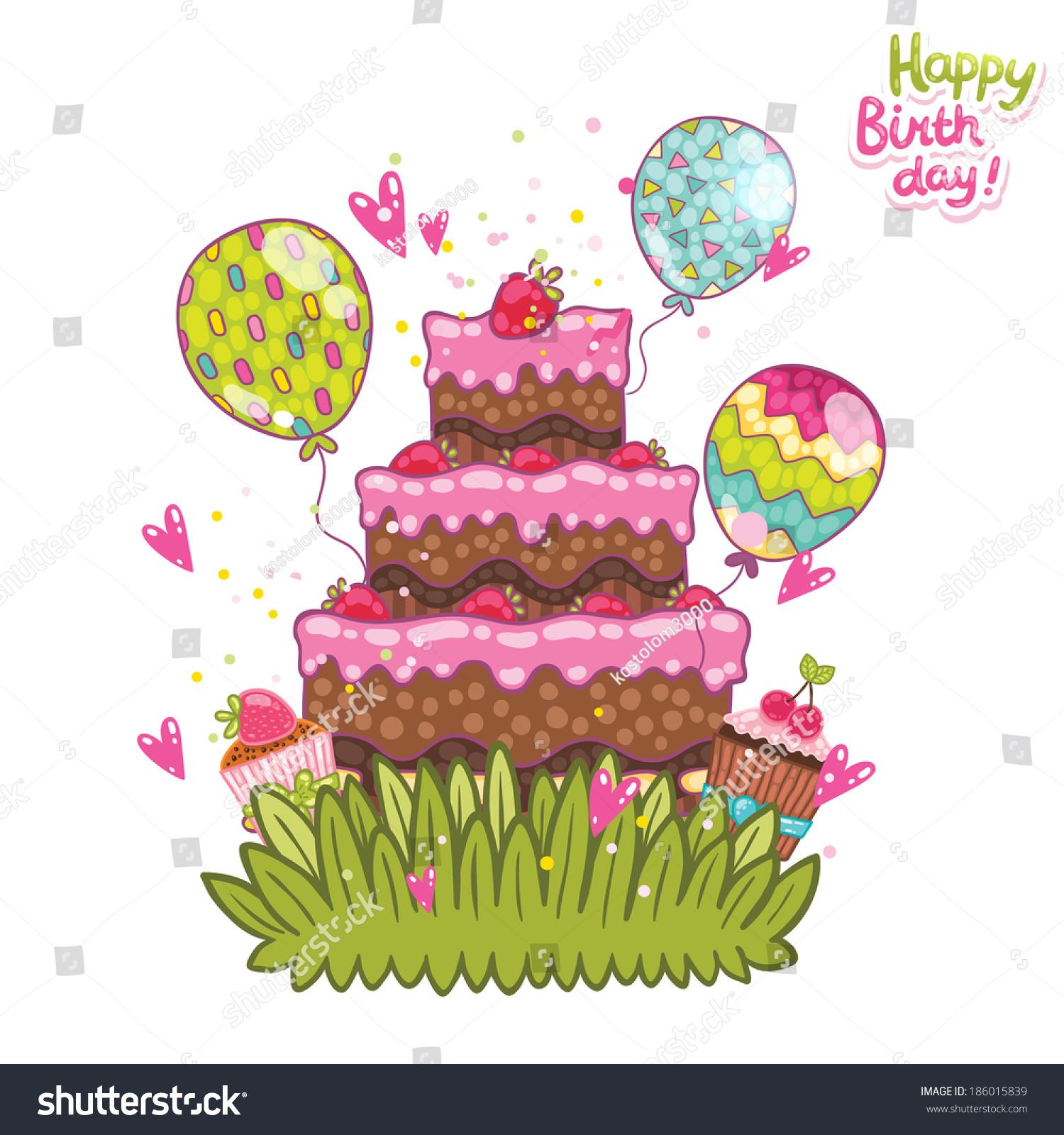 Happy Birthday Card Background Cake Vector Vector 186015839 – Happy Birthday Word Template