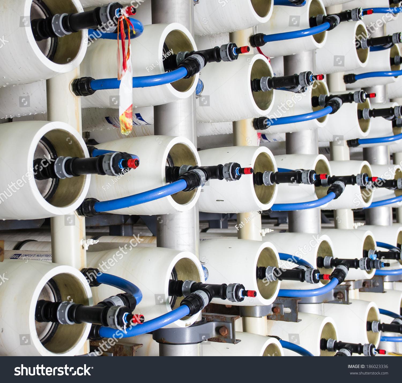 Reverse Osmosis Plant Desalinating Sea Water Stock