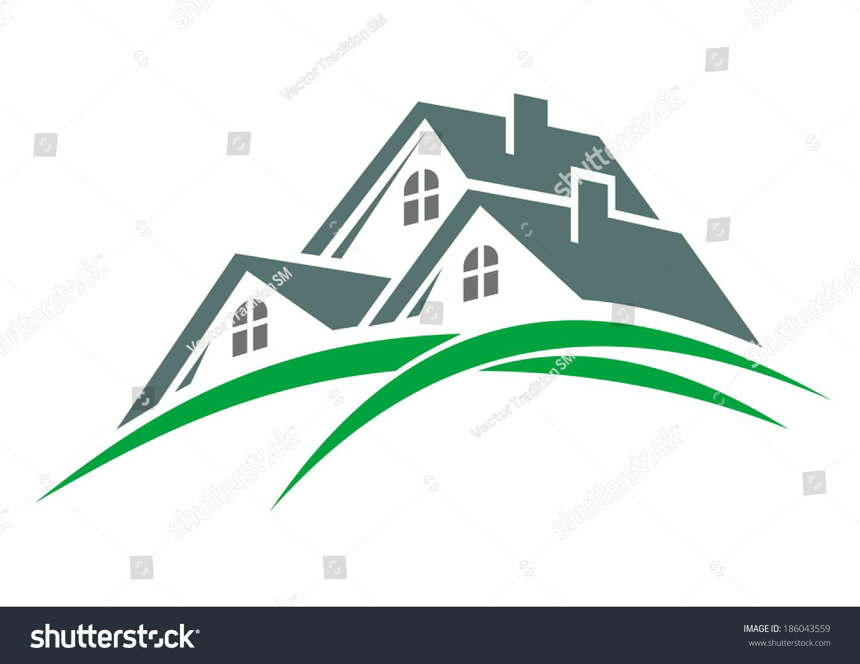 Houses Green Eco Environment Logo Three Stock Vector (Royalty Free