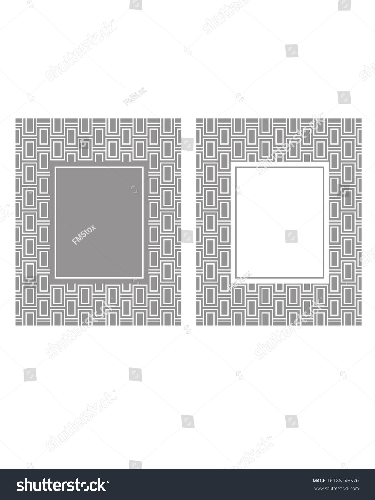 Grey white modern vector frame invitation stock vector 186046520 grey and white modern vector frame and invitation template set stopboris Images