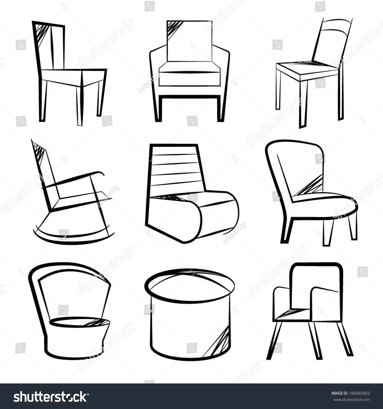 Sketch chair icons set sofa set stock vector 186065903 shutterstock