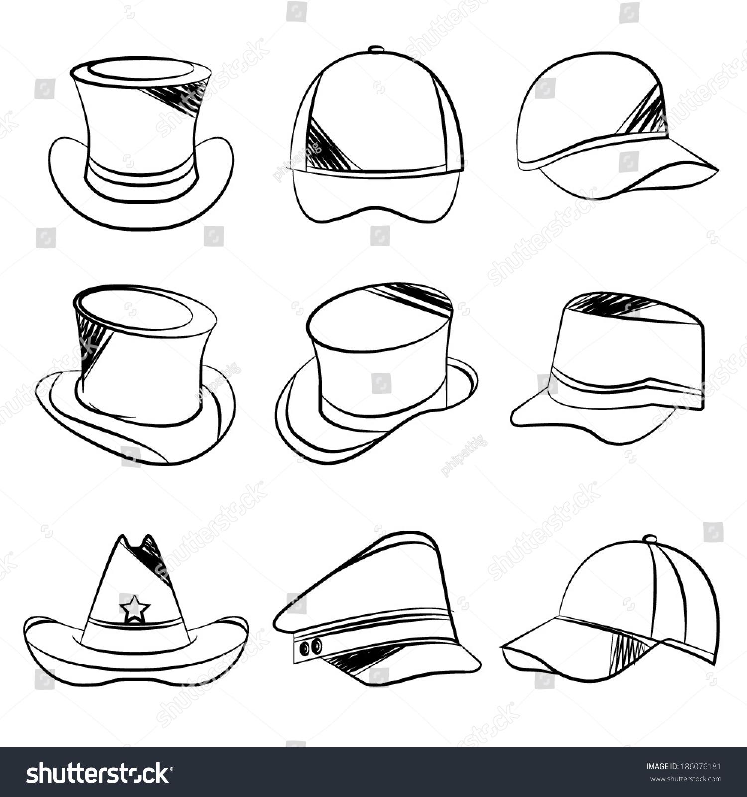 58704e77 Sketch Collection Hats Stock Vector (Royalty Free) 186076181