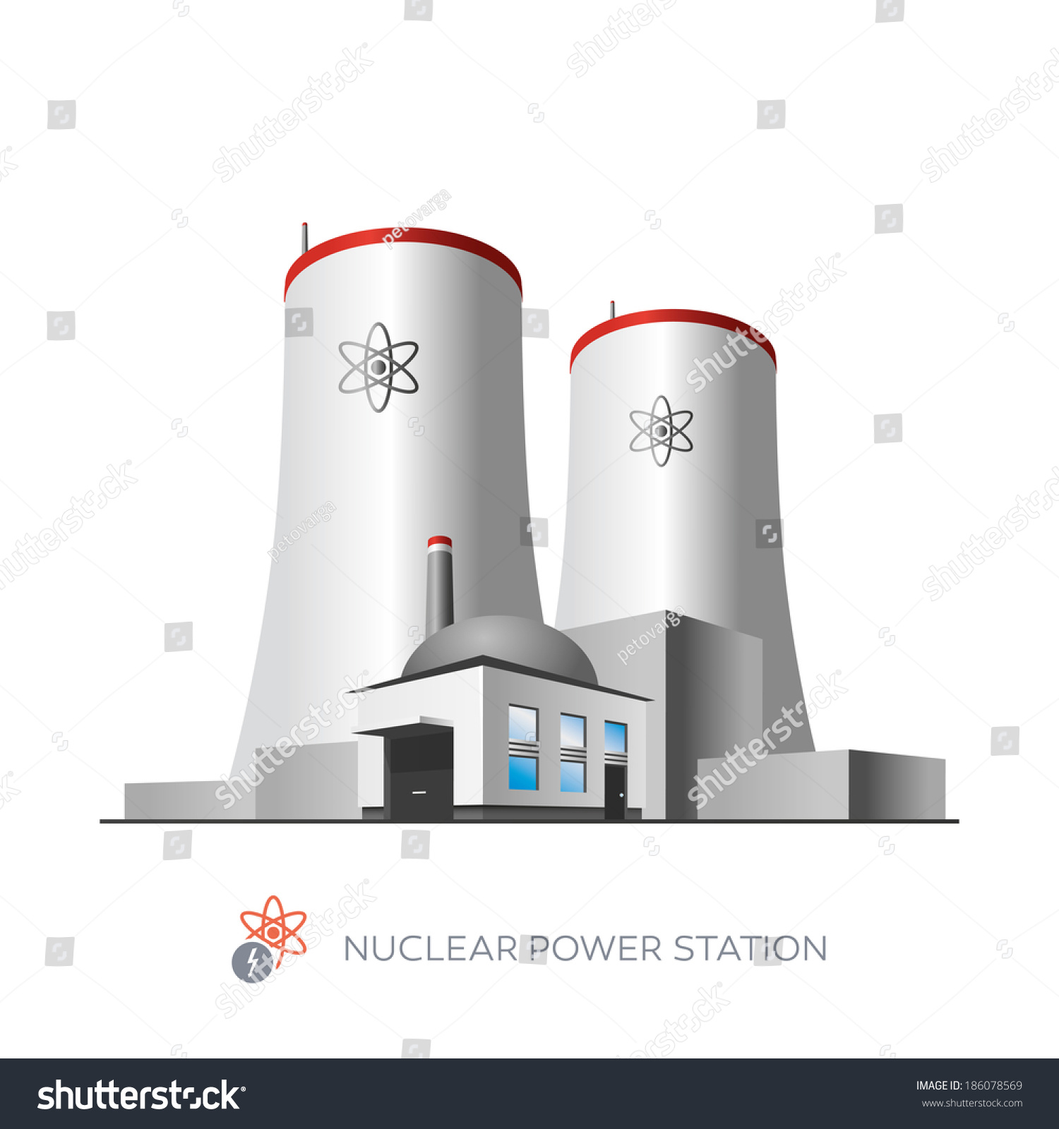 Isolated Nuclear Power Plant Icon On Stock Vector Royalty Free Diagram Pictures White Background In Cartoon Style