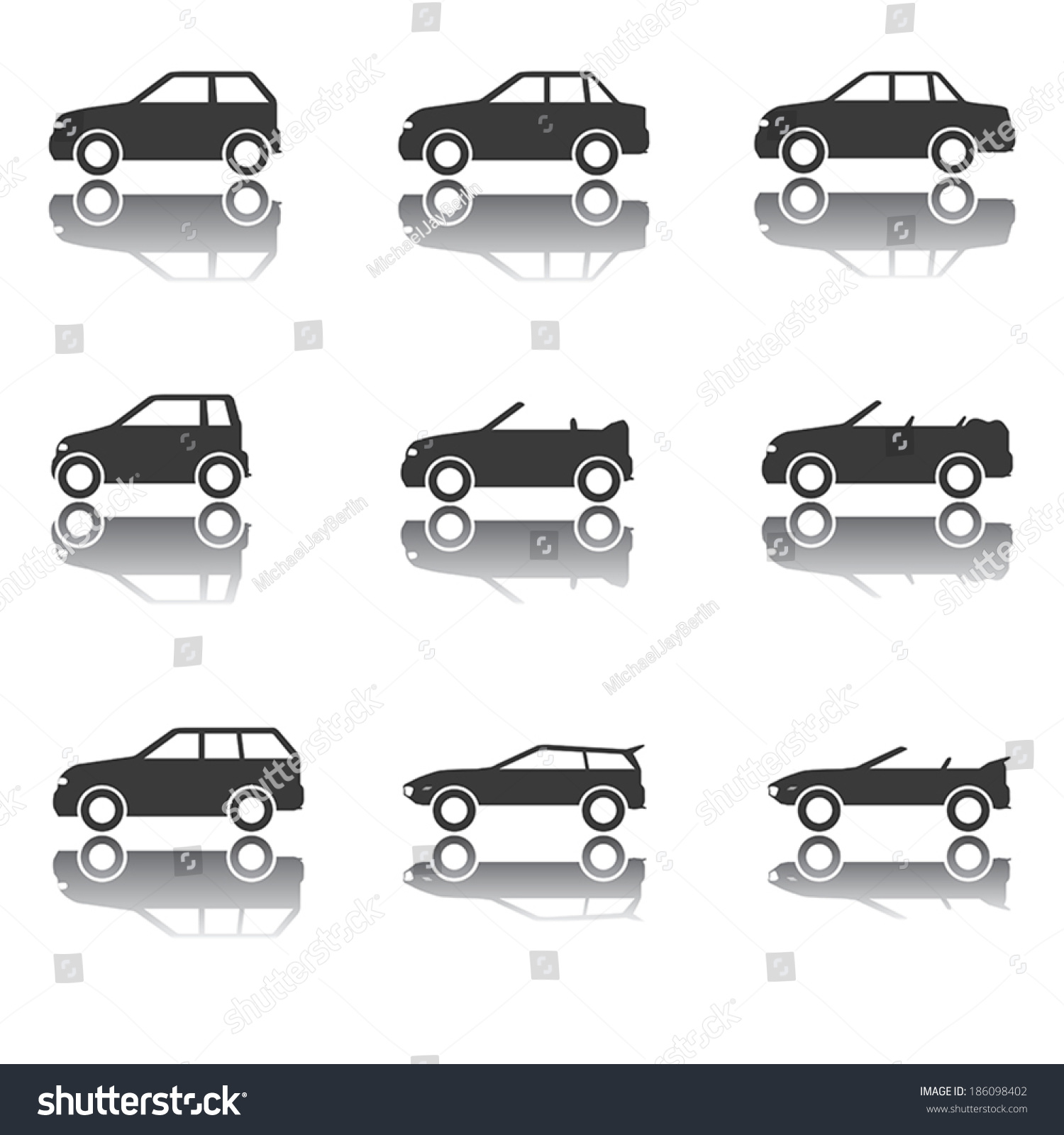 Icon Set Different Types Cars Profile Stock Vector