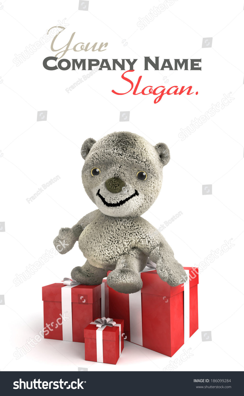 Animated Teddy Bear Standing By Red Stock Illustration 186099284
