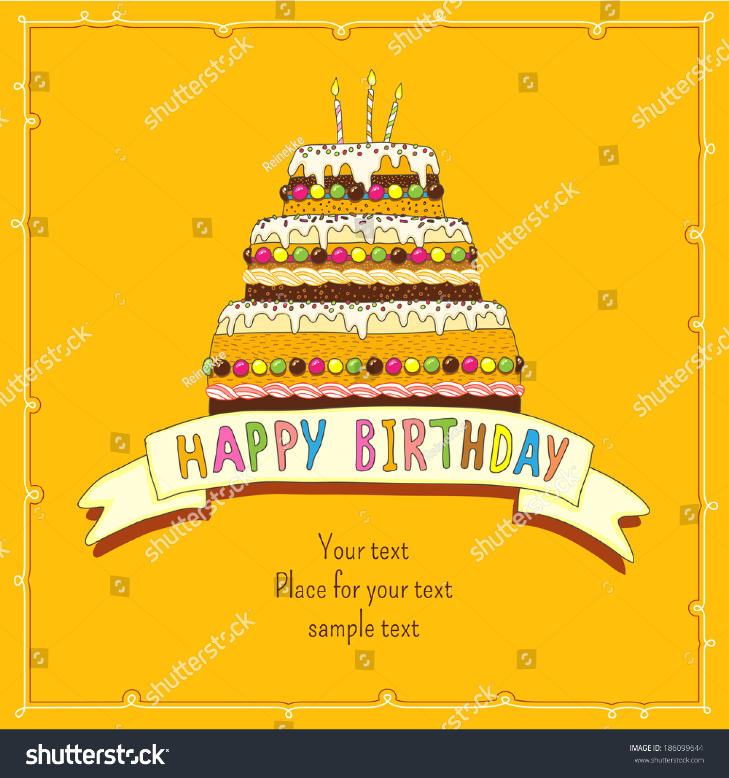 Birthday Greeting Card Big Cake Burning Stock Vector 186099644