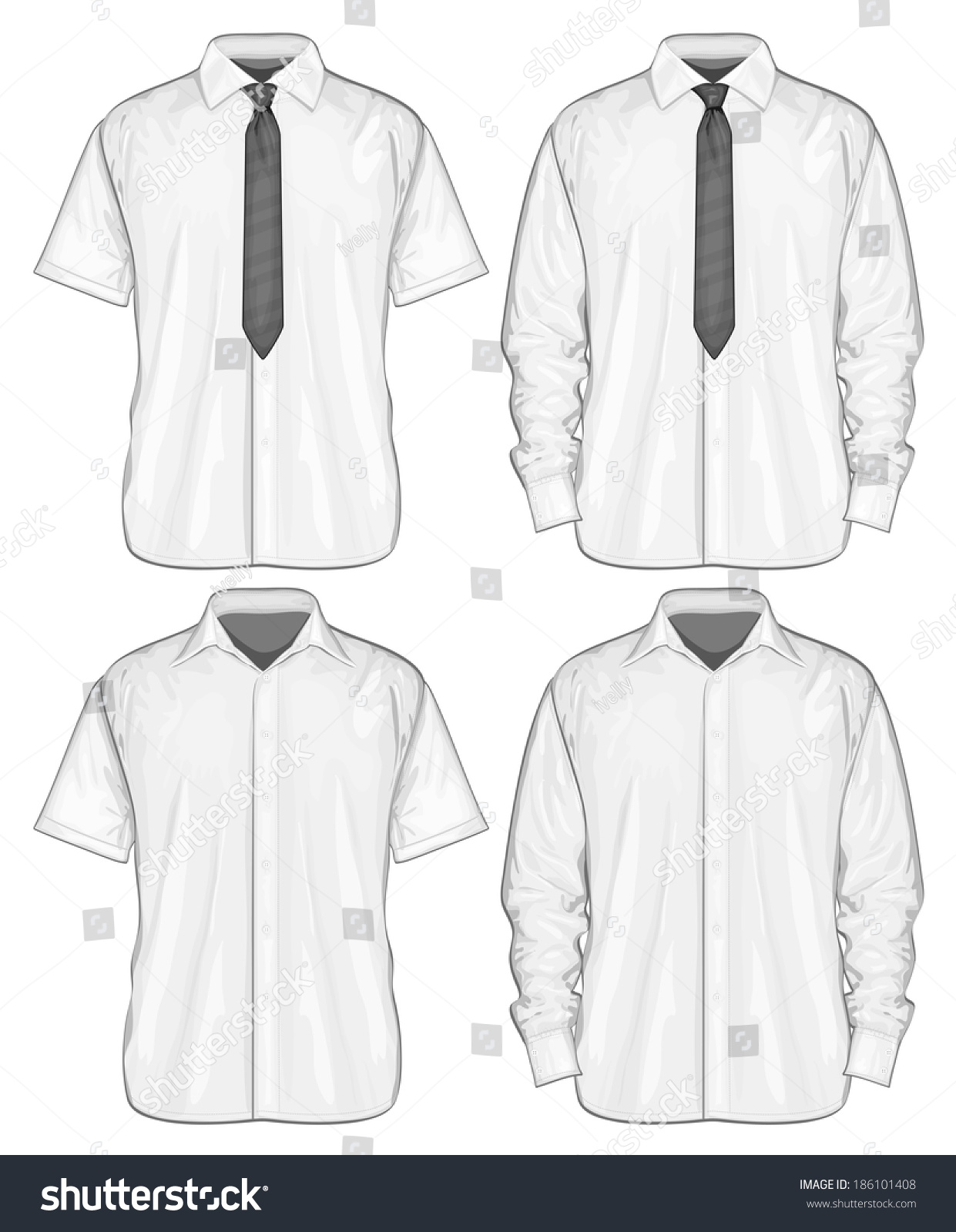 Vector Illustration Of Dress Shirts Button Down With And