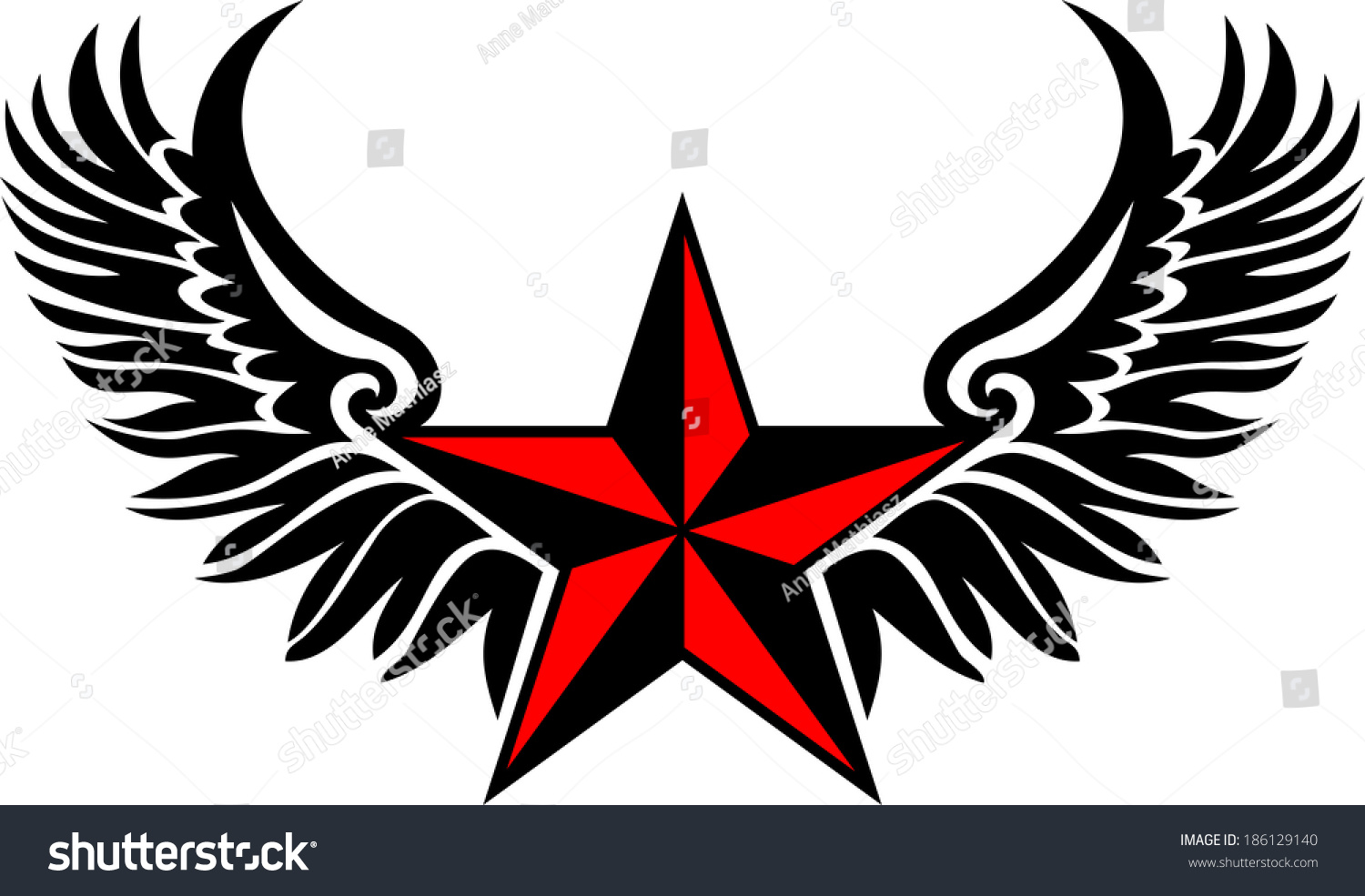 Nautical Star Wings Protection Guidance Stock Vector Royalty Free