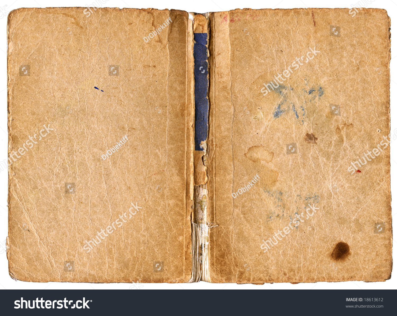 Open Book Cover Damaged Backbone Vintage Stock Photo ...