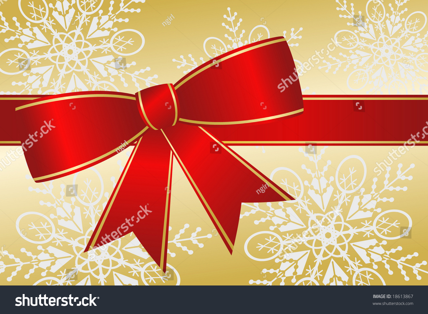 Elegant Christmas Background With Snowflakes Stock Vector: Big Red Christmas Ribbon Bow Has Gold Trim And Satin