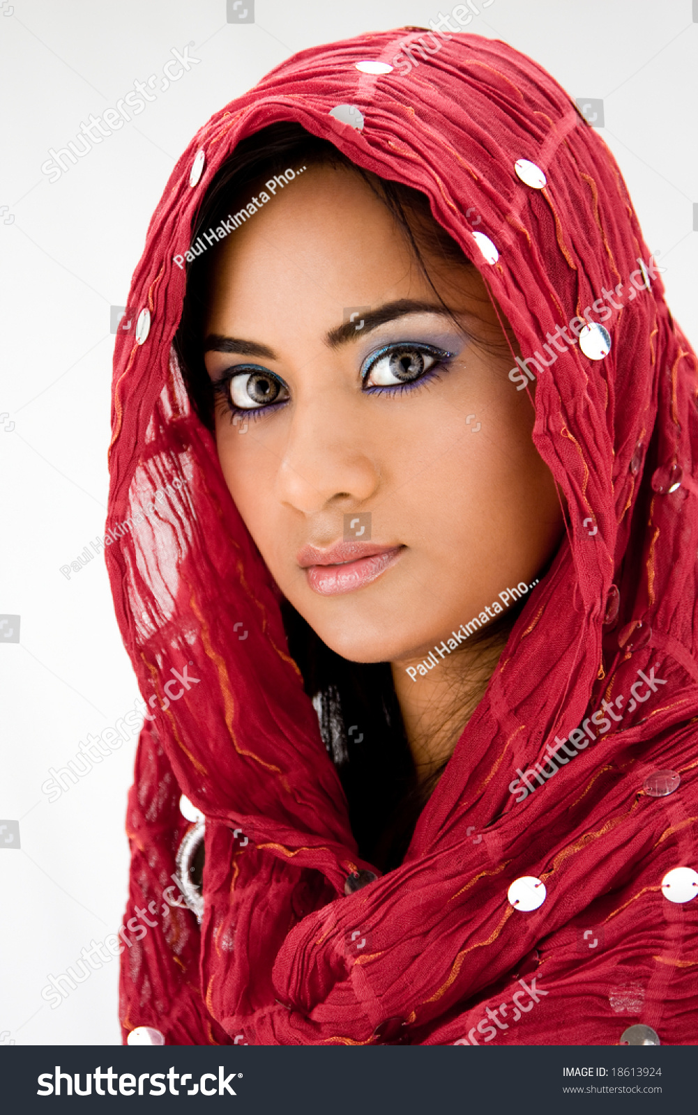 Beautiful Woman Red Head Scarf Isolated Stock Photo -4030