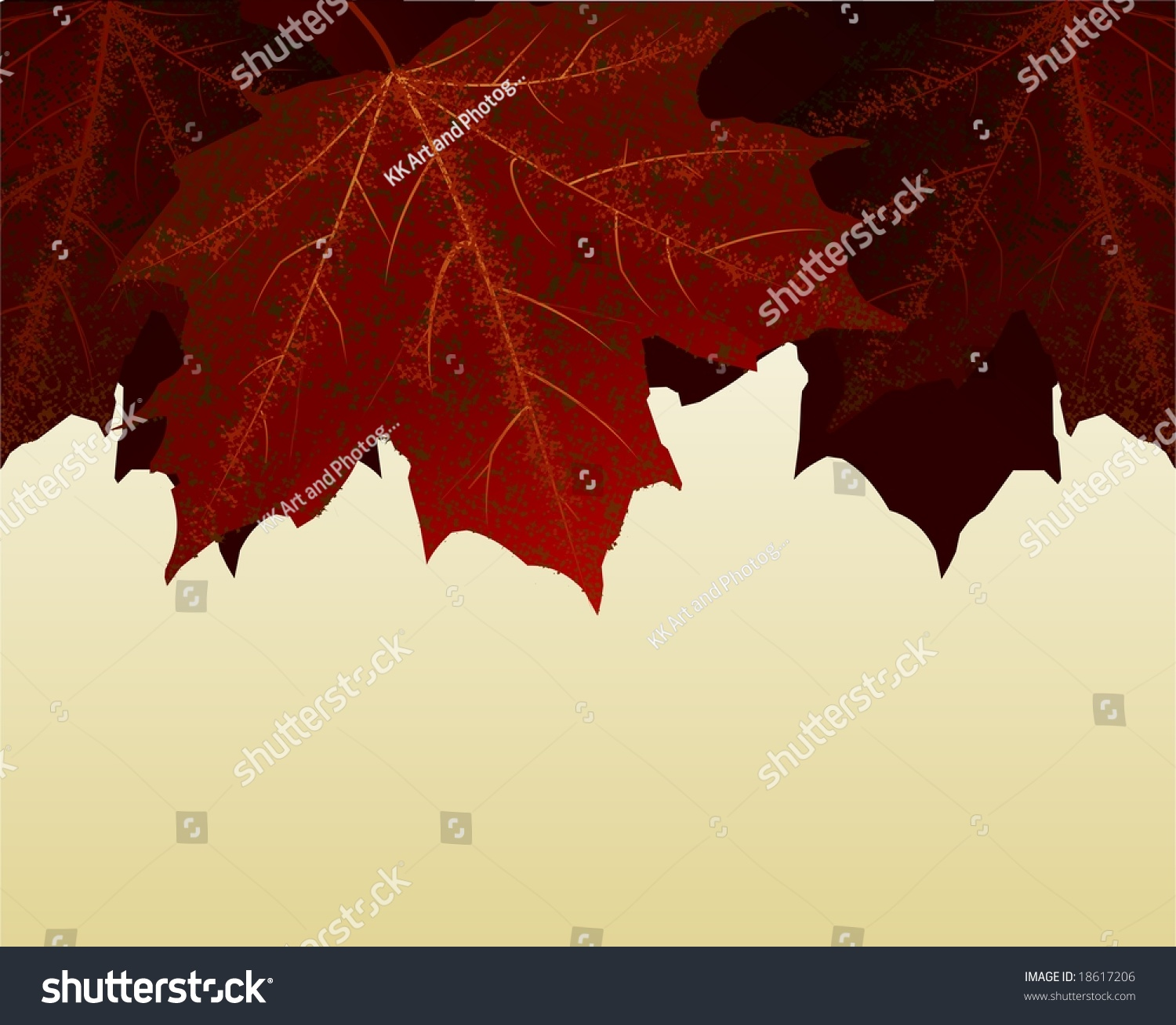 detailed autumn leaves border your stationery stock illustration