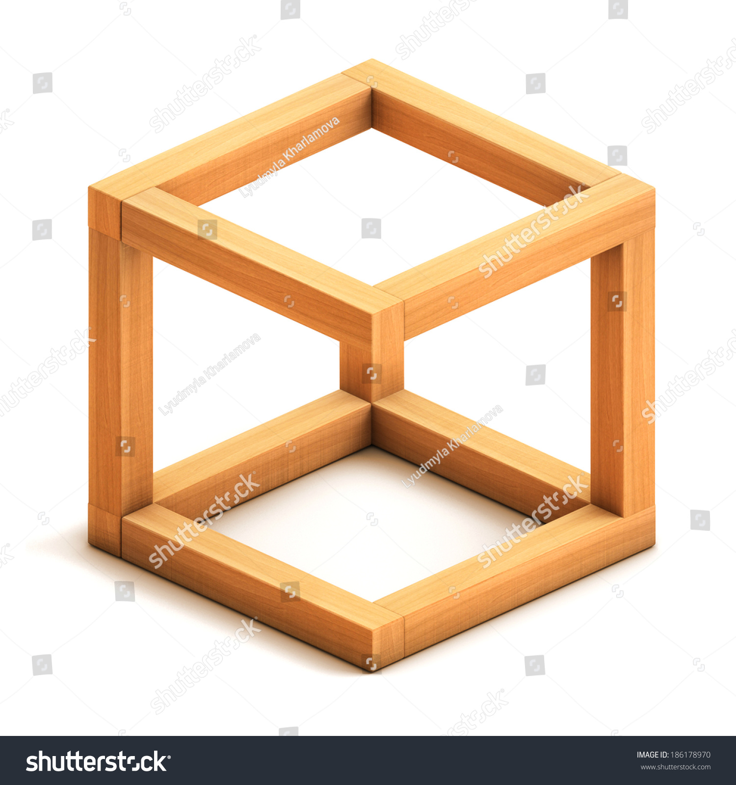 optical illusion box impossible wooden 3d figure geometrical isolated render background shutterstock