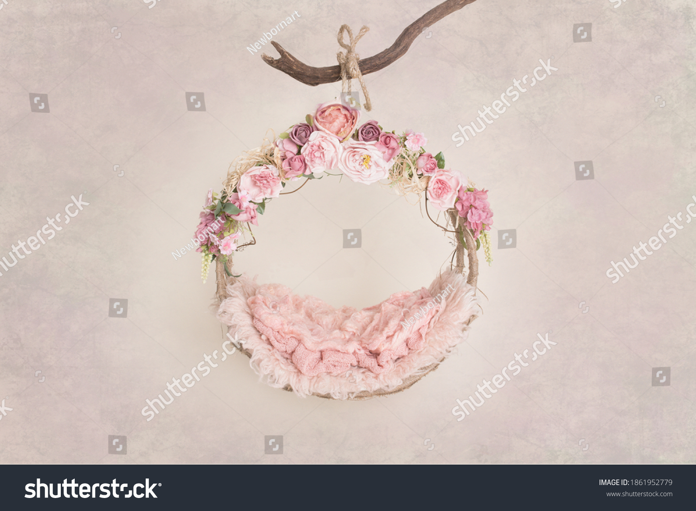 Newborn digital backdrop with flowers  #1861952779