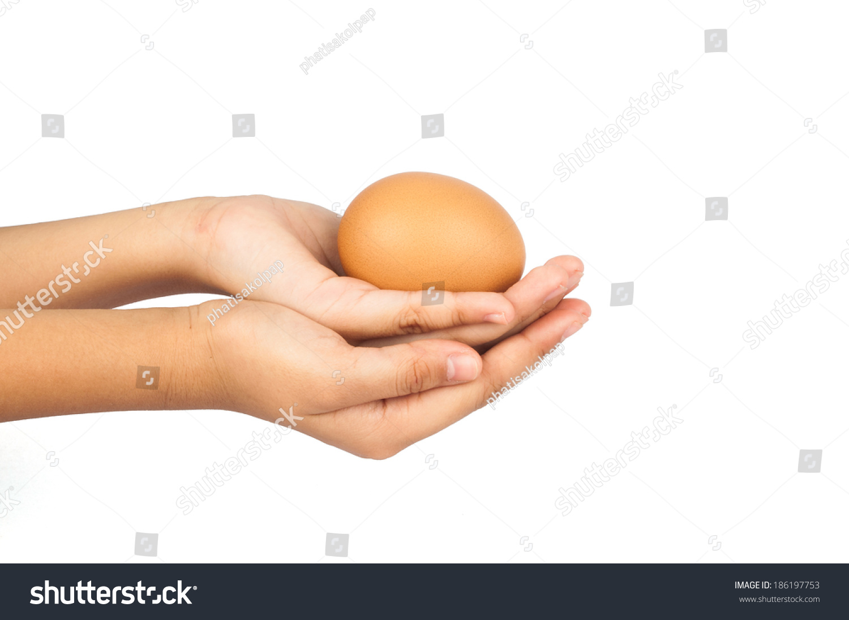 Children Hands Holding Egg On Isolated Stock Photo ...