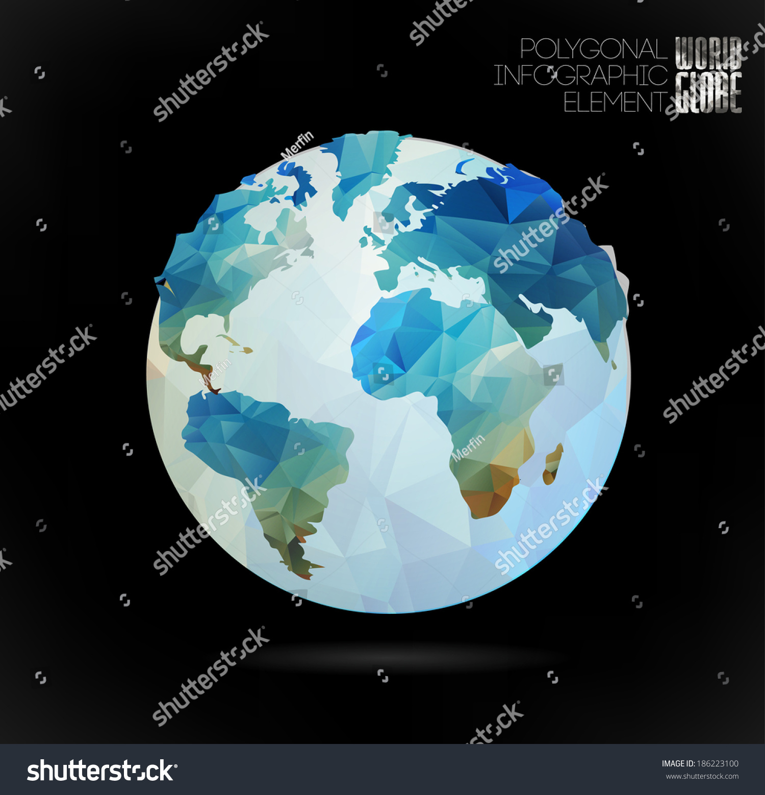 Vector World Globe 3d Triangular Map Of
