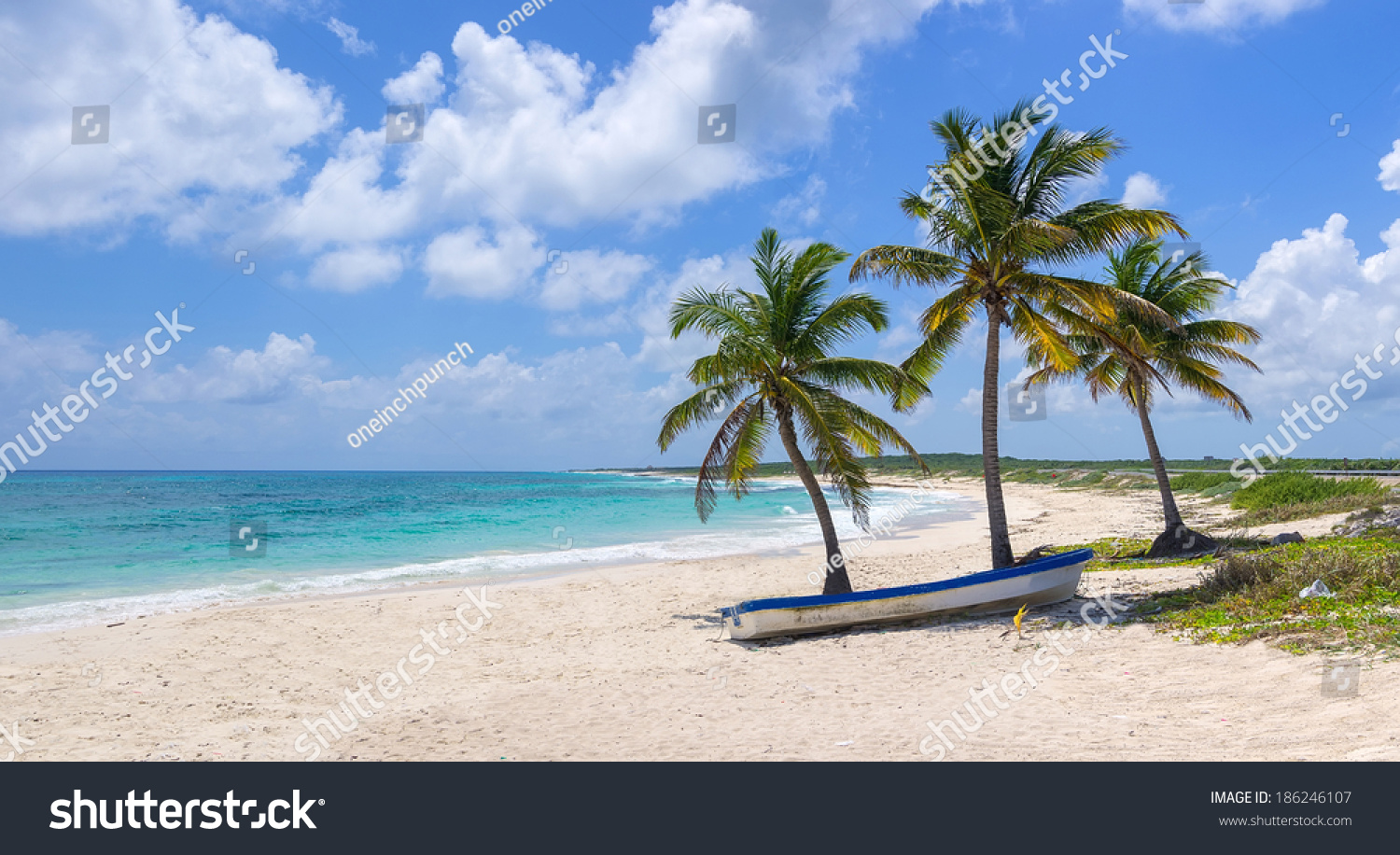 Hd Tropical Island Beach Paradise Wallpapers And Backgrounds: Tropical Beach Blue Ocean Stock Photo 186246107