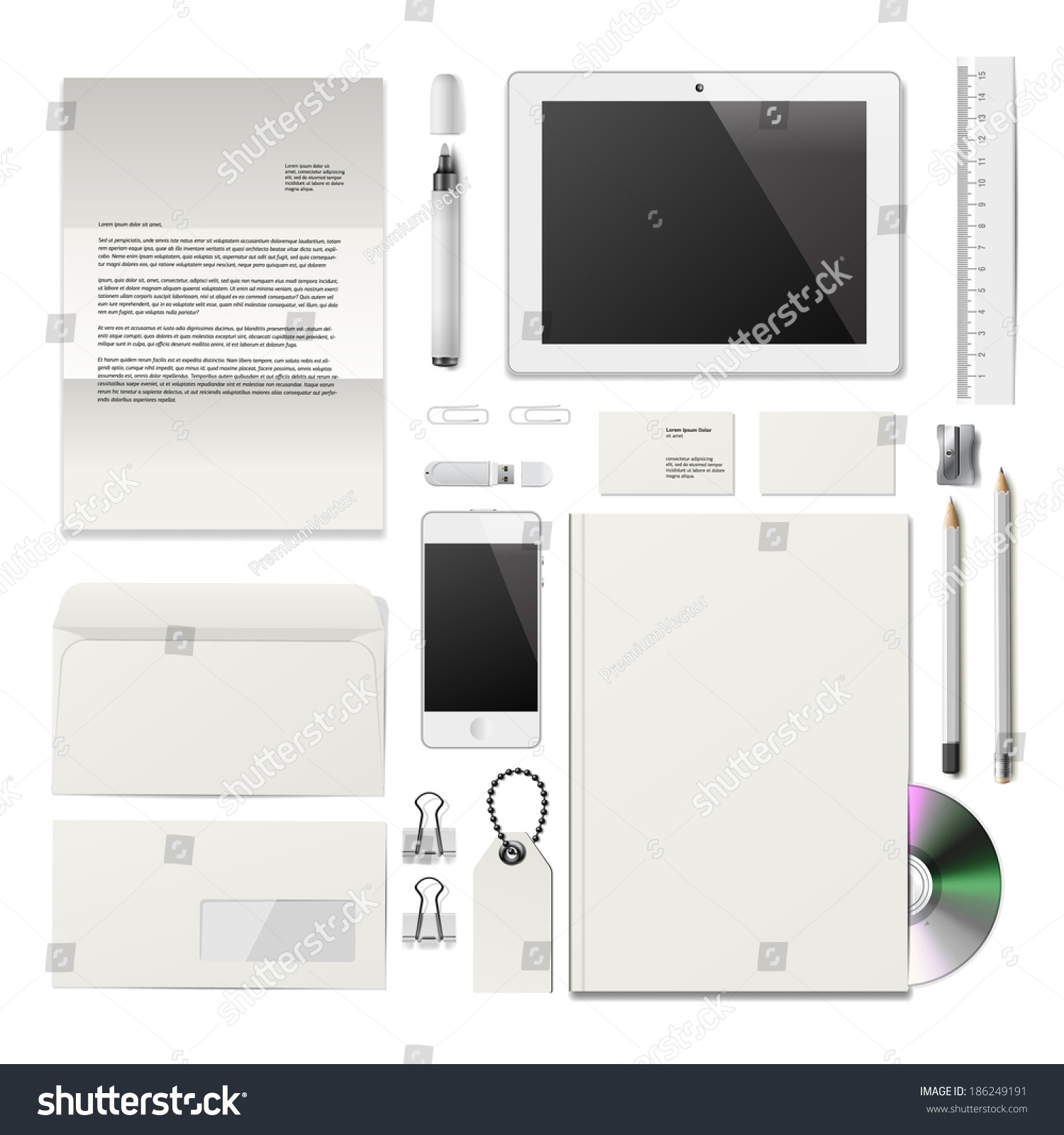 White corporate id mockup consist business stock vector 186249191 consist of business cards cd disk notepad pen magicingreecefo Image collections
