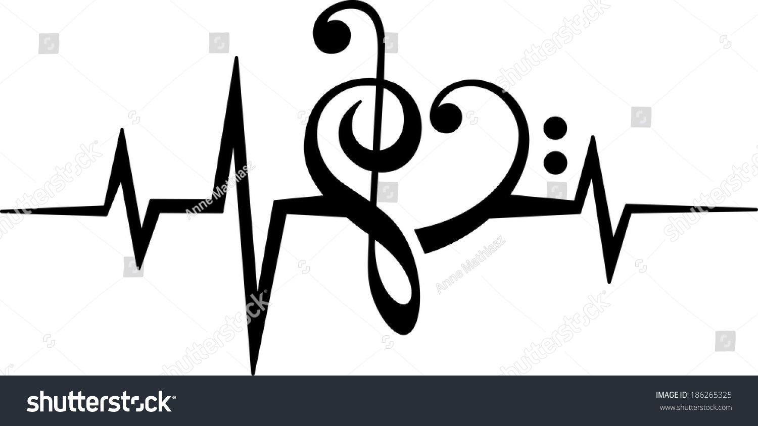 music note heart treble bass clef stock vector 186265325 sound wave vector art sound wave vector png