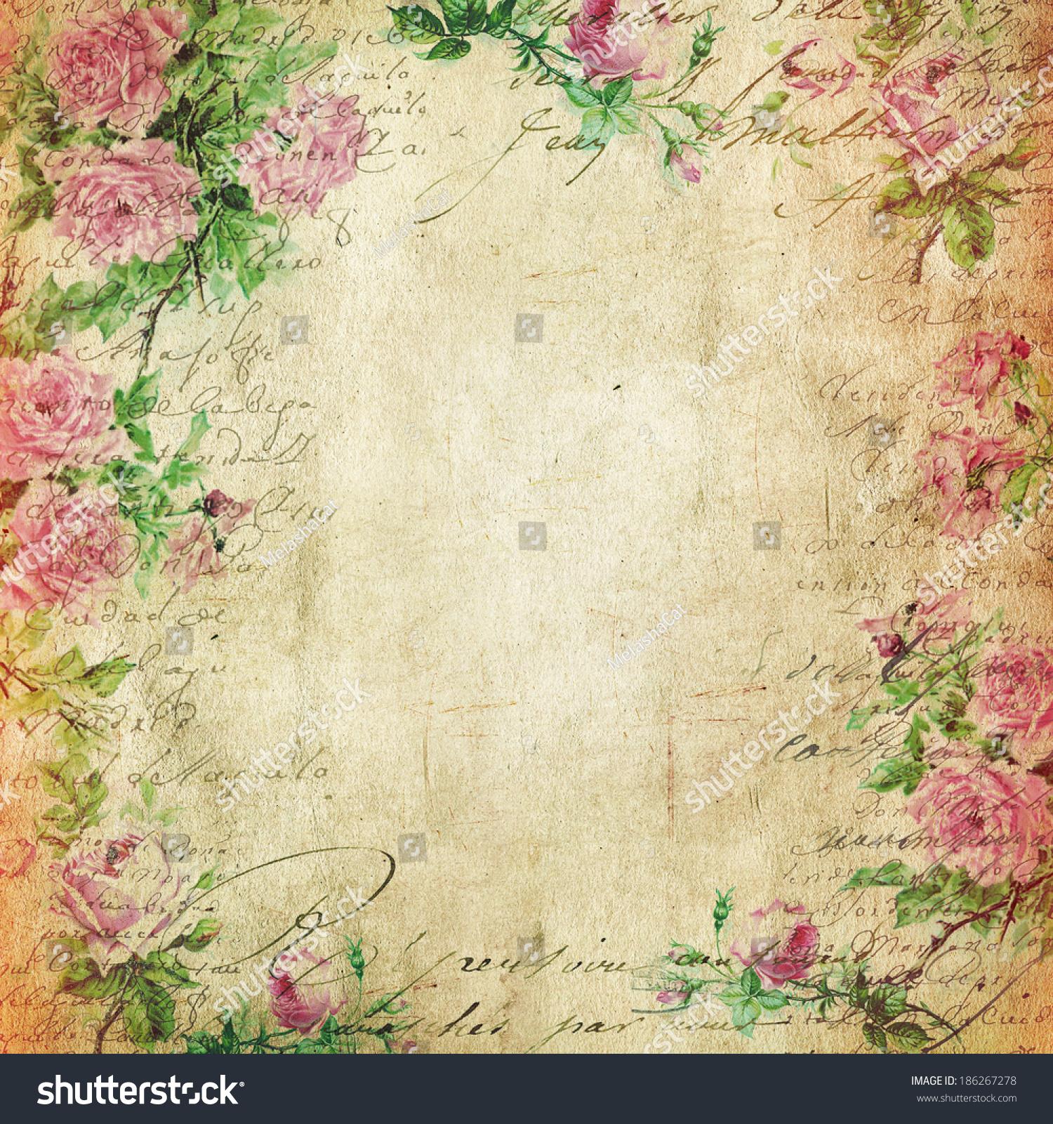 Vintage Background Flowers Paper 186267278