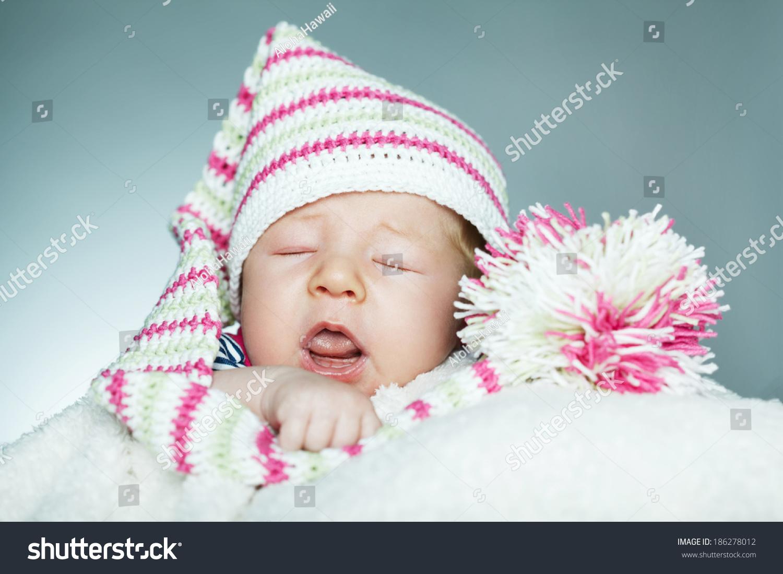 4aa065913 Cute Little Funny Sleeping Baby Hat Stock Photo (Edit Now) 186278012 ...