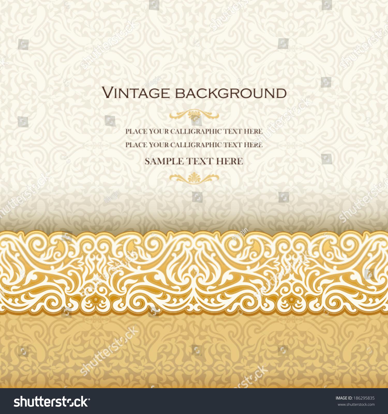 Vintage background antique invitation card royal imagem vetorial de vintage background antique invitation card royal greeting with lace and floral ornament beautiful stopboris Images