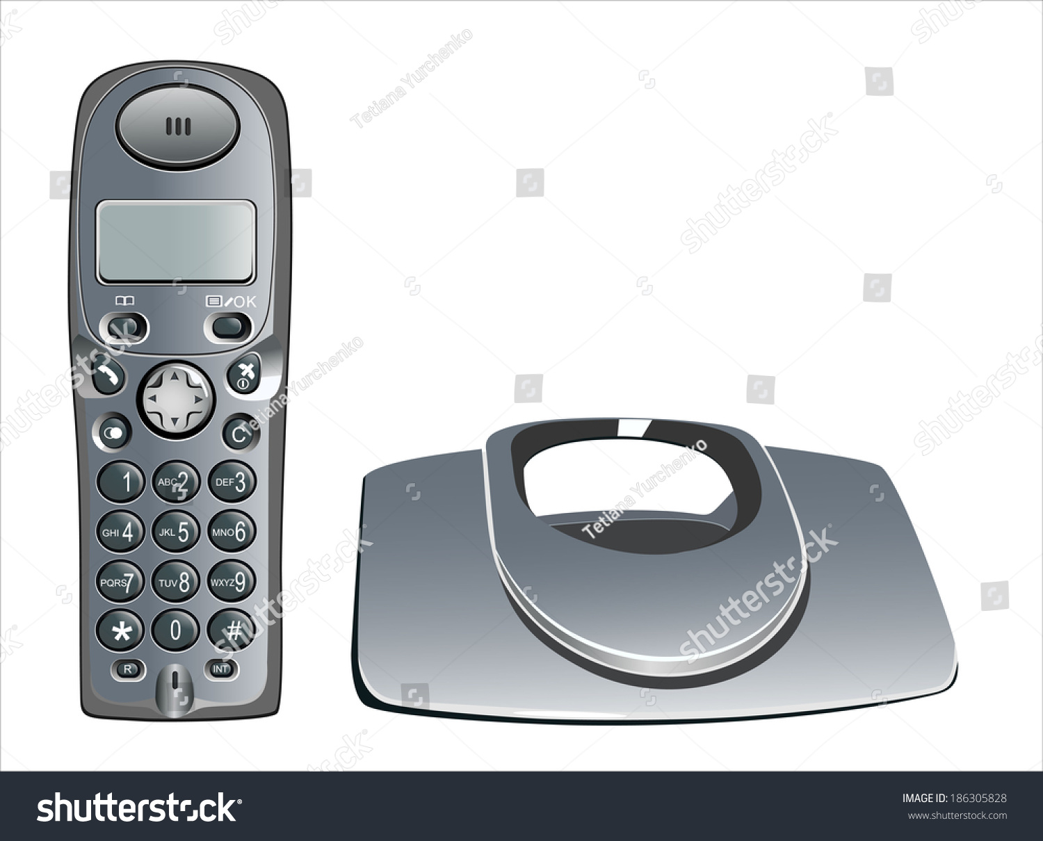 Modern Cordless Home Phone Isolated On A White Background.