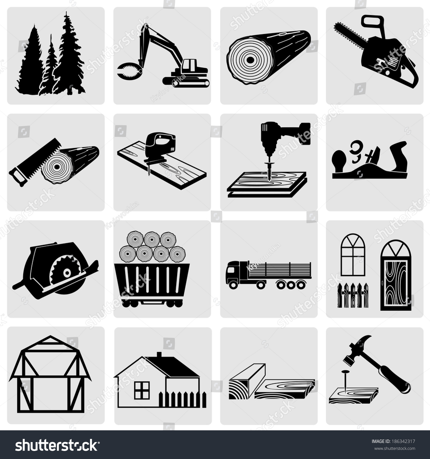 Cool Collection Of Silhouettes Woodworking Tools Stock Vector