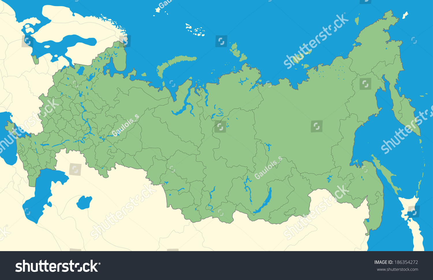 Detailed Map Russia Stock Illustration Shutterstock - Detailed map of russia