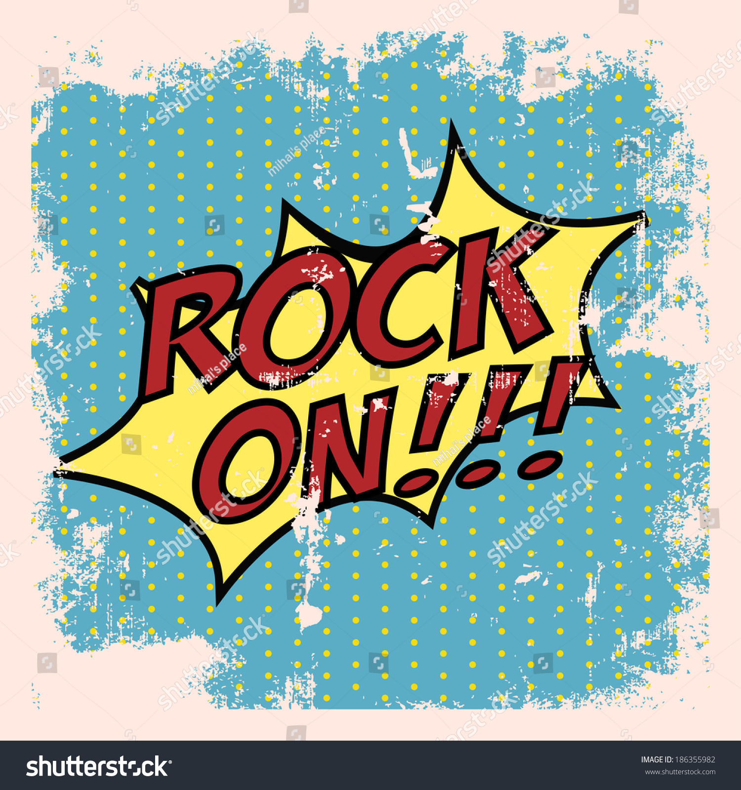 Create A Rockabilly Poster With Vector Set 22: Pop Art Rock On Background Illustration Stock Vector