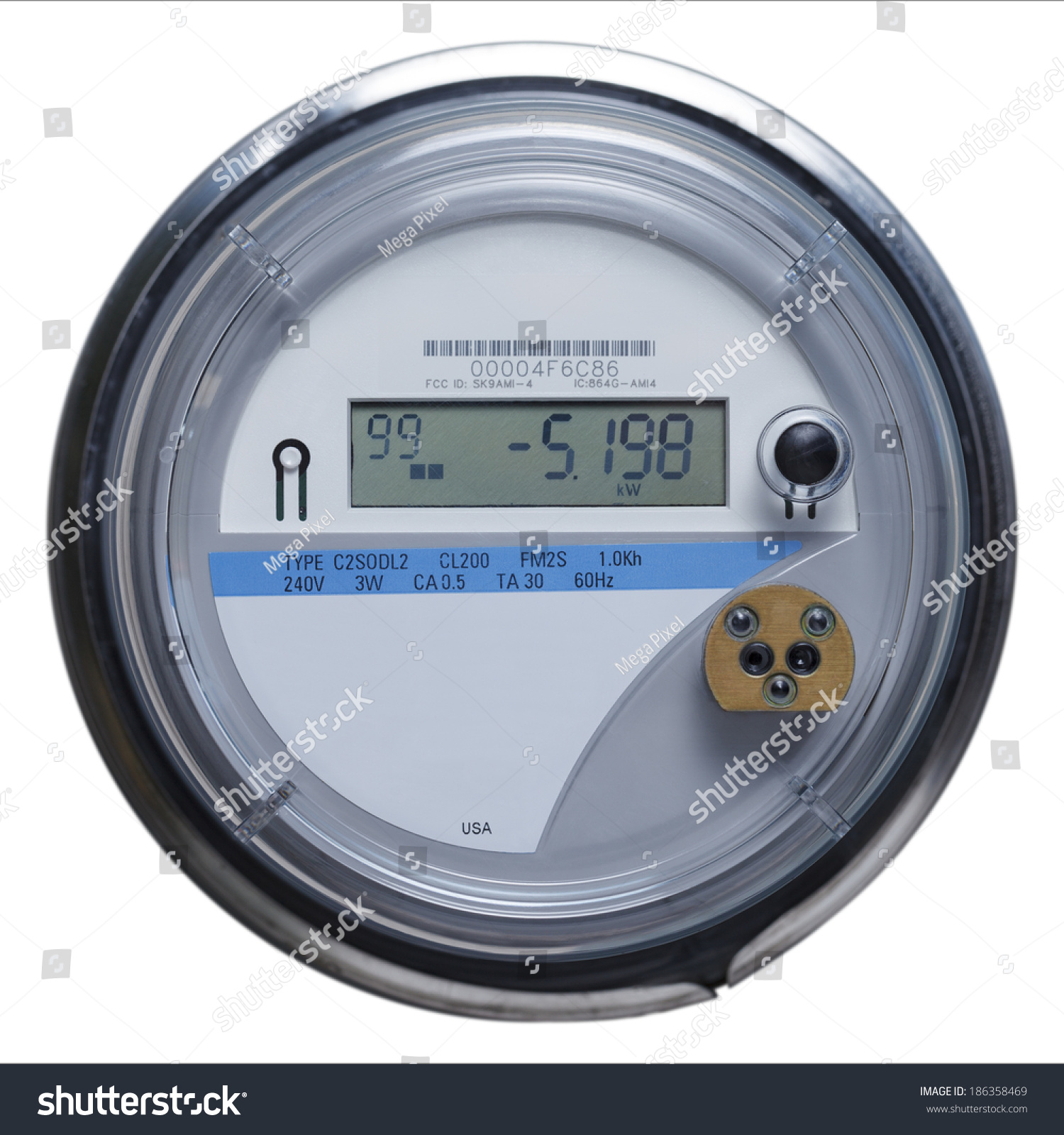 Multifunction Meter Front View : Electric meter front view copy space stock photo