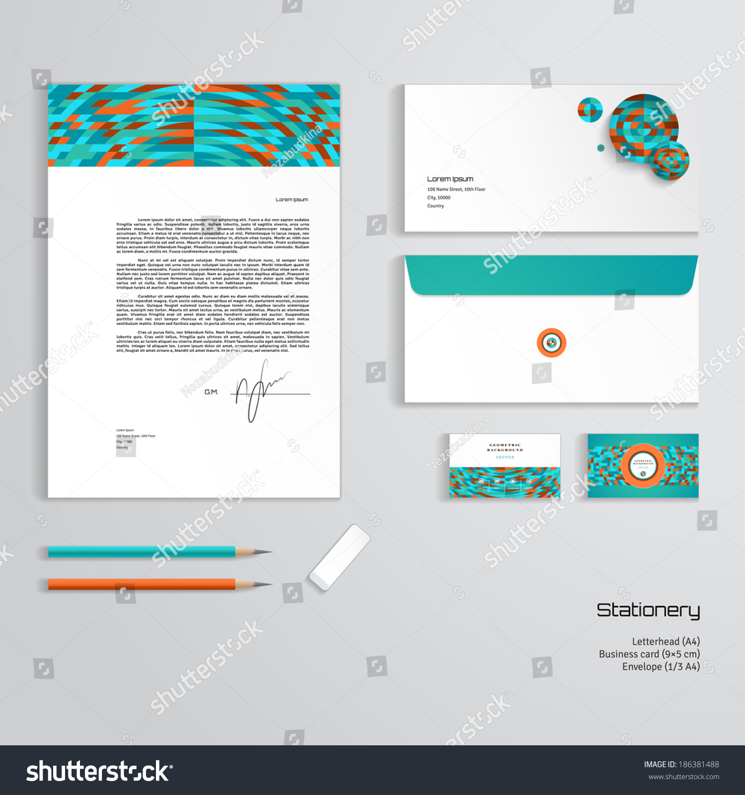 Vector identity templates multicolored geometric ornament stock vector identity templates multicolored geometric ornament letterhead envelope business card pencils friedricerecipe Image collections