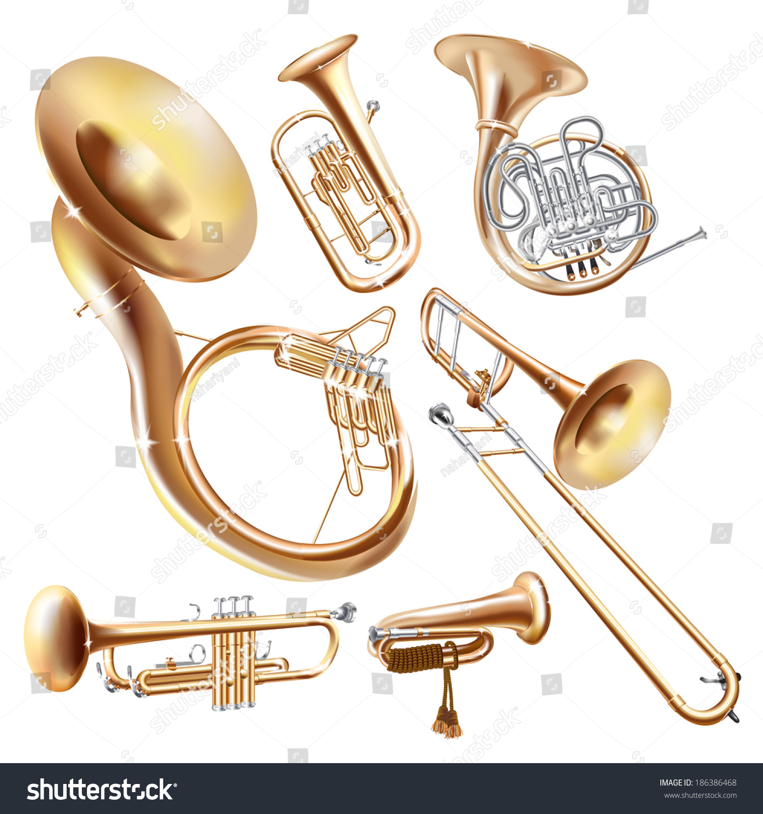 Musical Background Series Set Brass Wind Stock Vector ...