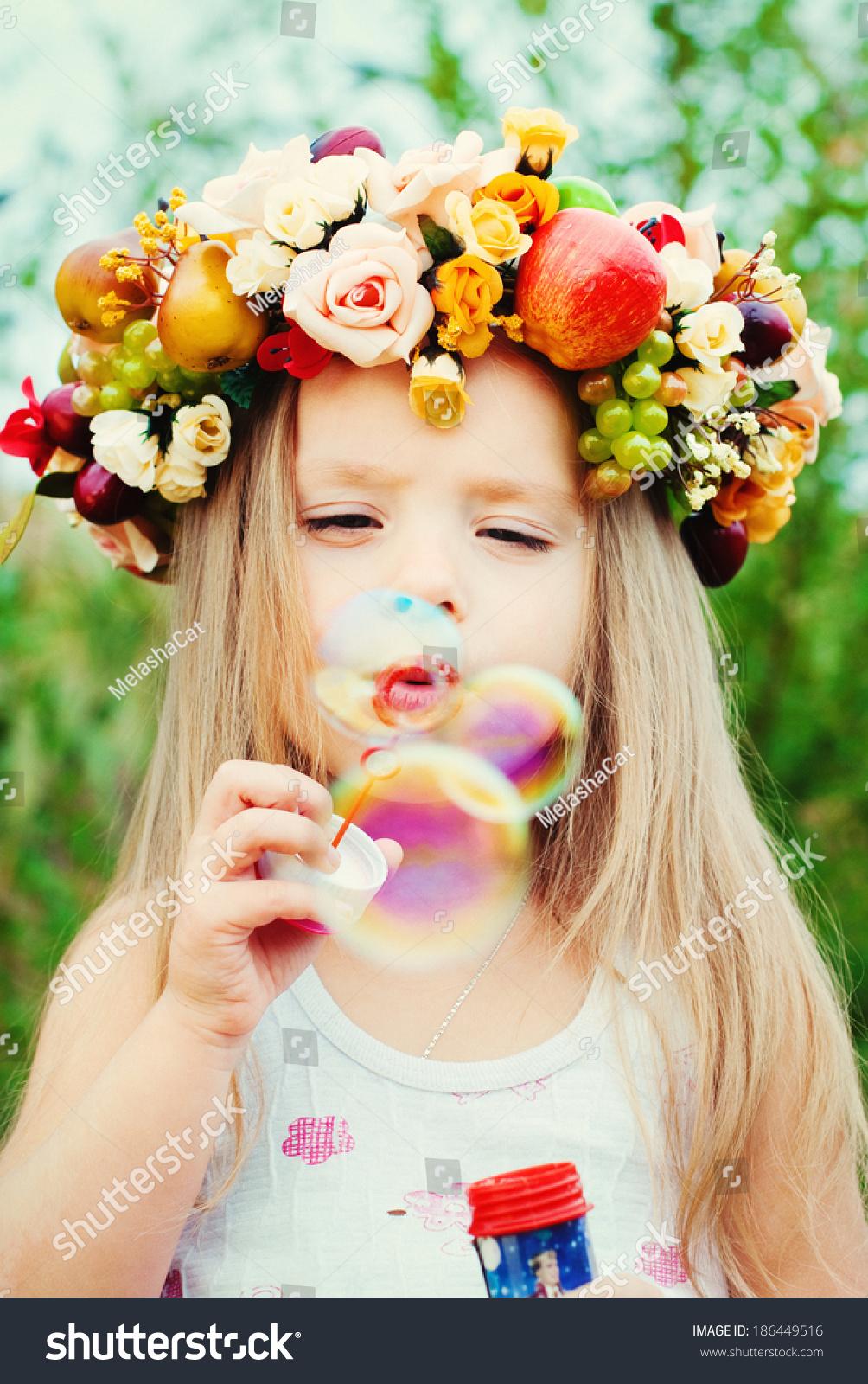 Happy Child Summer Beautiful Girl Flowers Stock Photo Edit Now