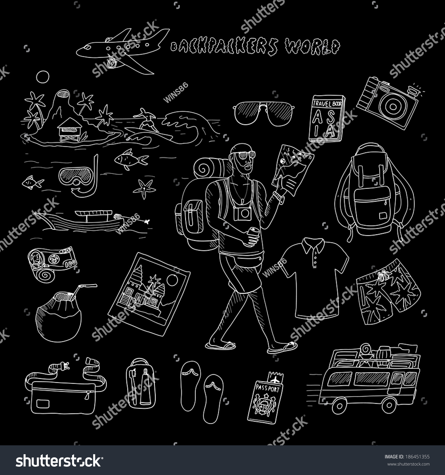 7d47ea900f Backpackers world. Travel. Doodle set in vector isolated on a black  background.