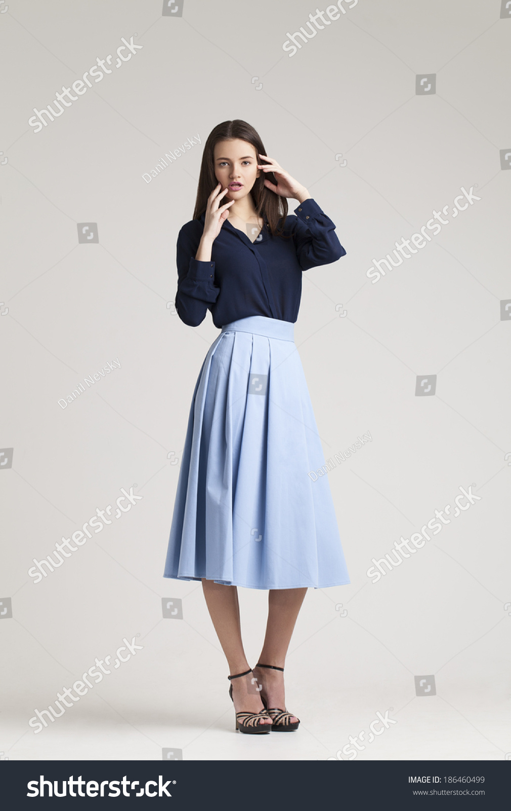 Girl Fashion Dress Spring Collection Stock Photo 186460499