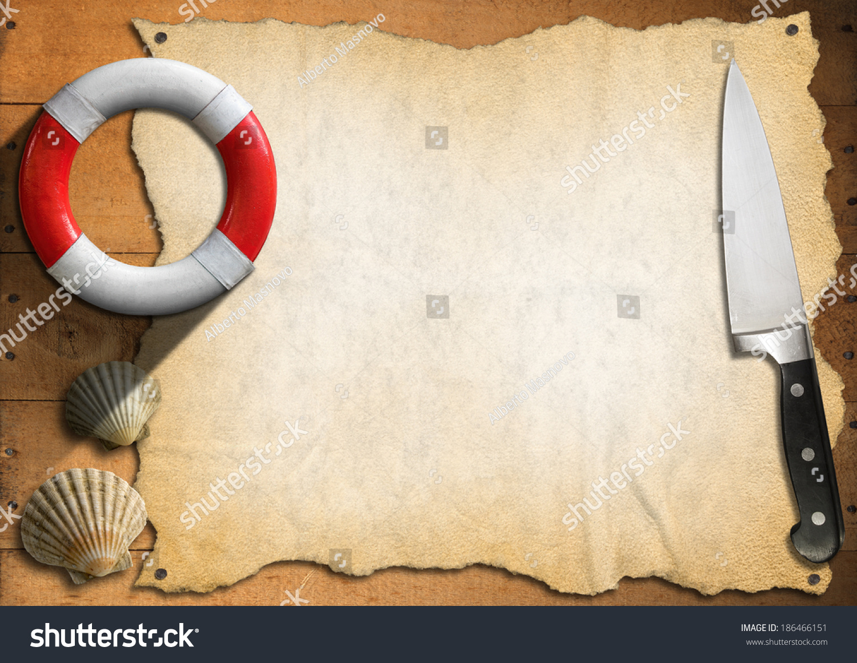 seafood menu template empty parchment on stock illustration