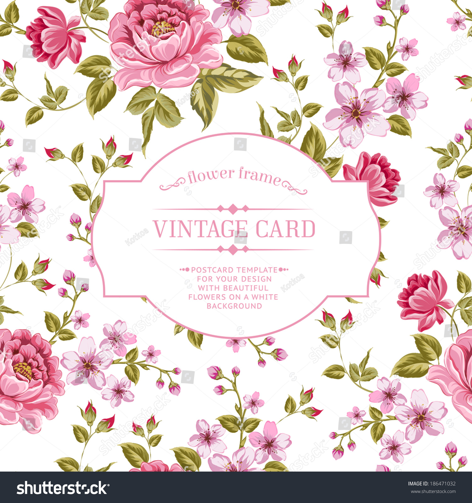 spring flowers bouquet vintage card vector stock vector 186471032