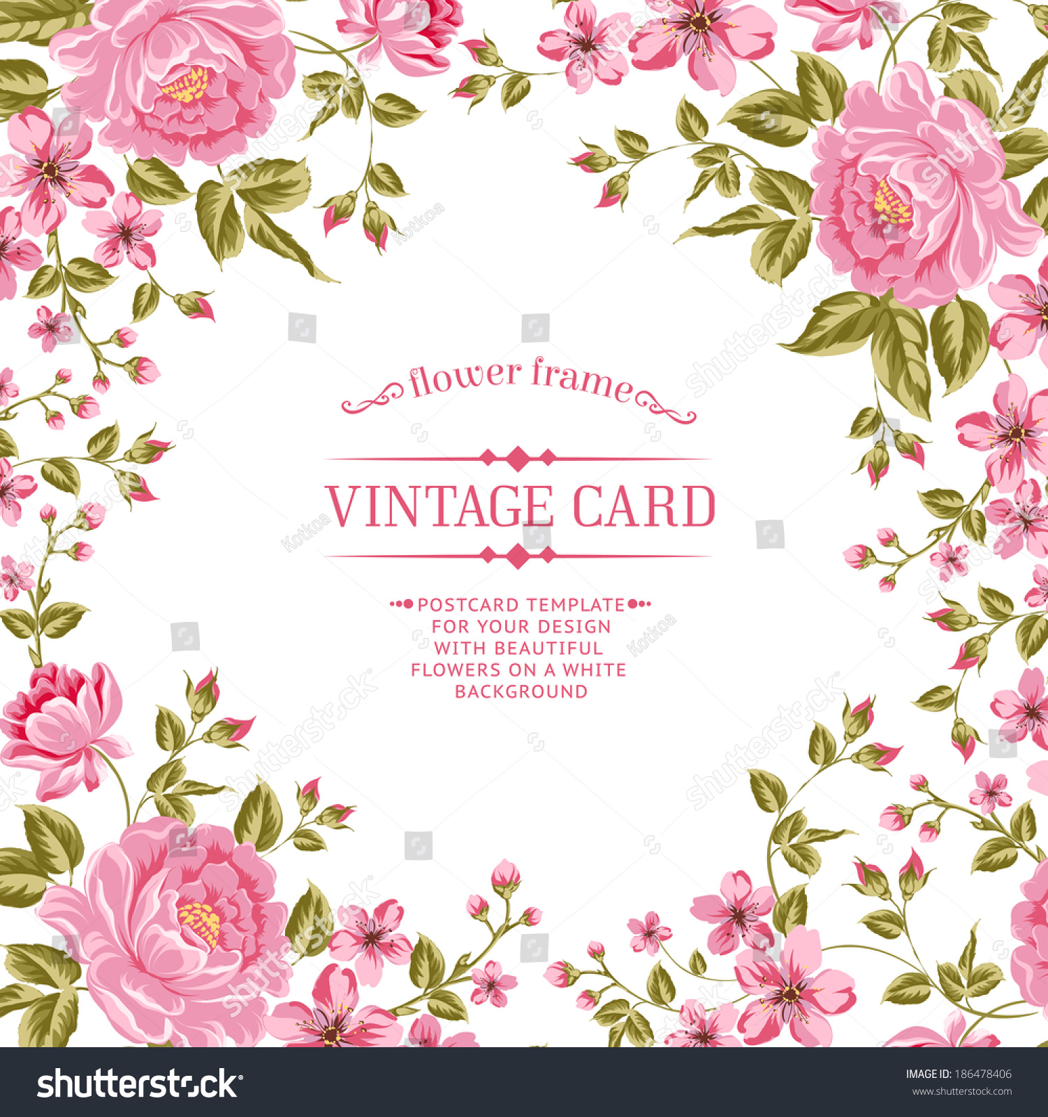 Luxurious Color Peony Background With A Vintage Label
