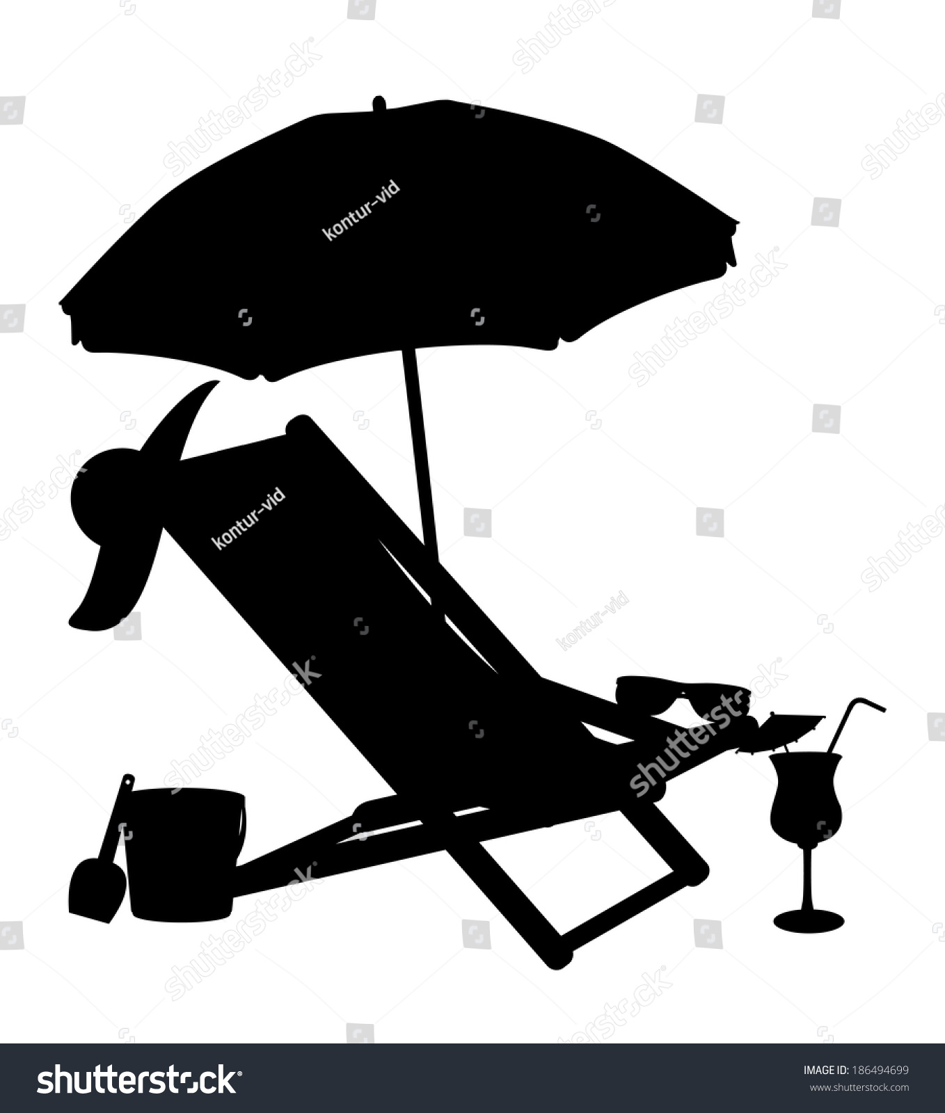 Gallery For > Beach Chair And Umbrella Silhouette