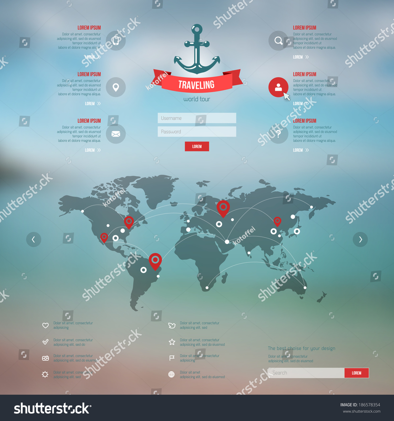Map Design Website Template: Vector Map, Web And Mobile Template. Corporate Website