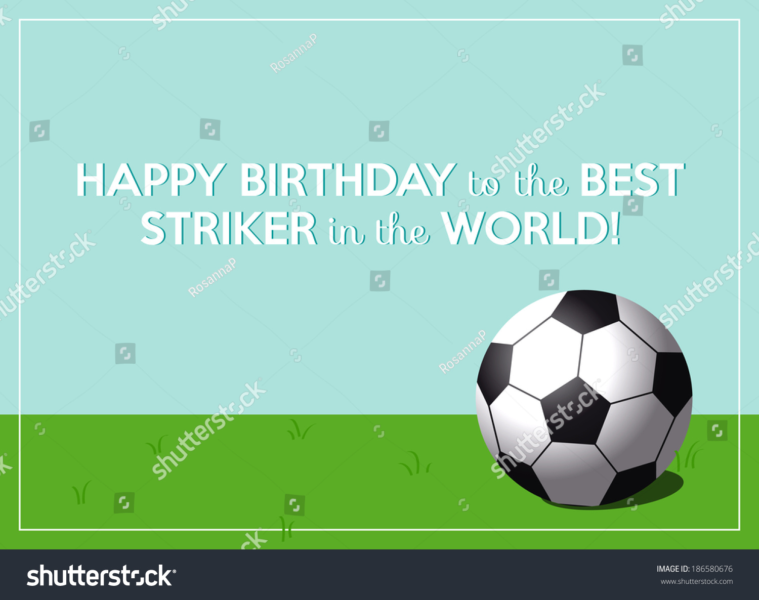 Birthday Greeting Card Best Striker World Stock Vector 186580676