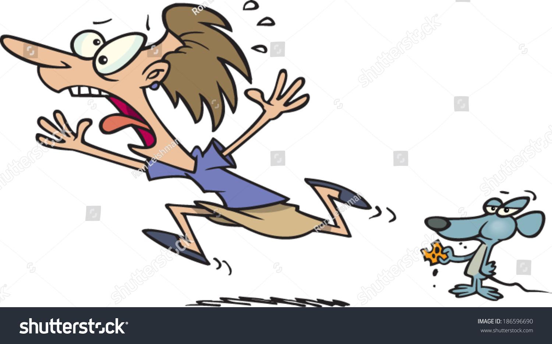 Girl running away in fear
