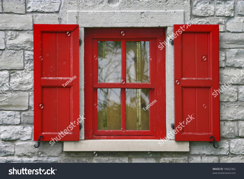 stock-photo-red-window-shutters-grey-sto