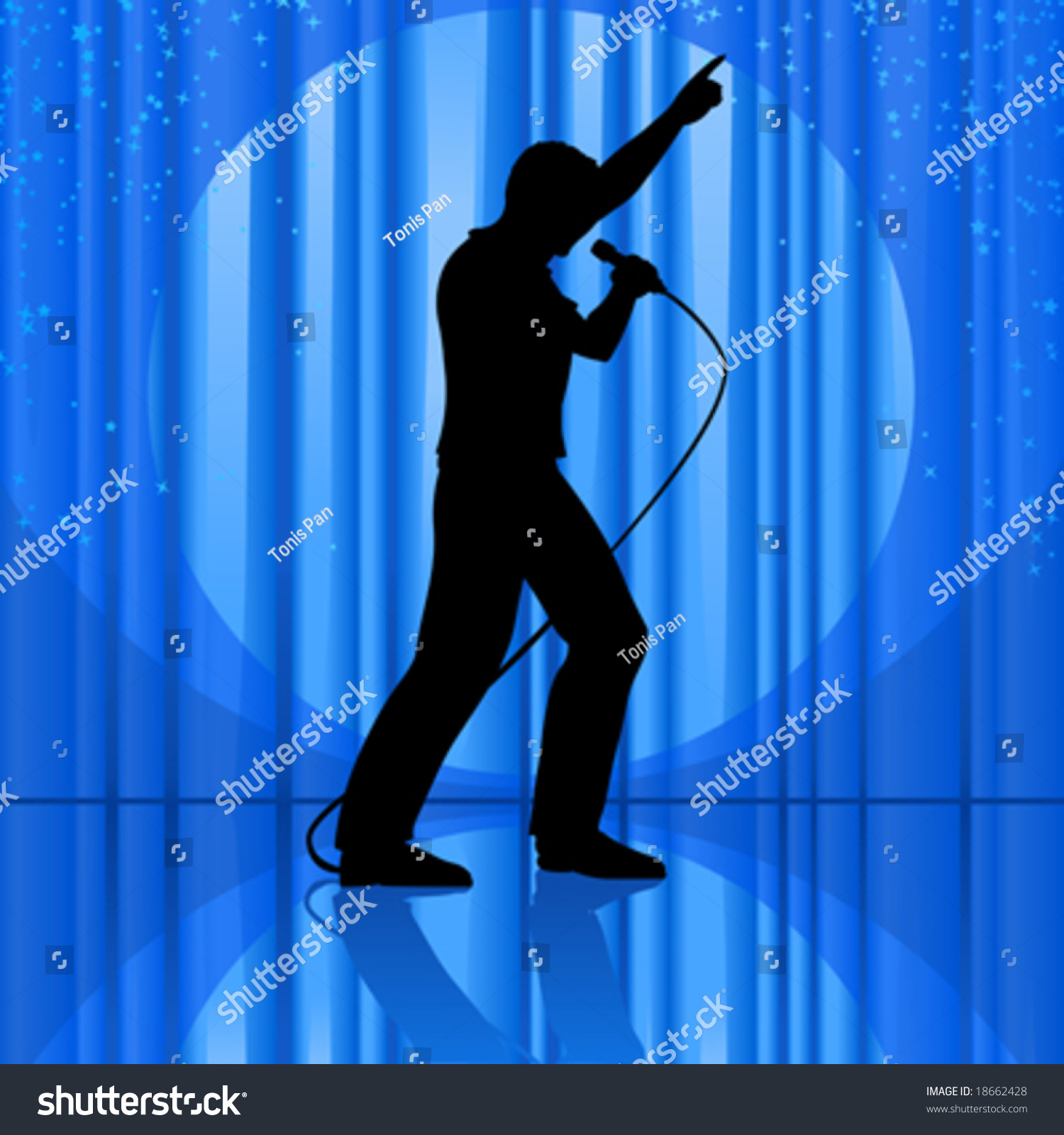 Vector Clip Art Illustration Silhouette Singer Stock ...